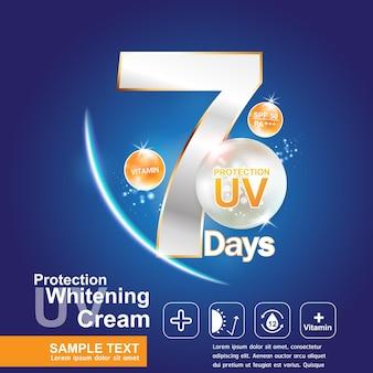 Ochrona uv w 7 dni logo produkty kosmetyczne na baner lub szablon plakatu.