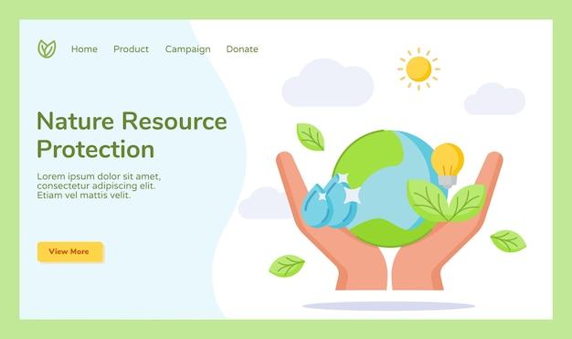 Ochrona zasobów przyrody ręka trzymająca ziemia kropla wody żarówka kampania liścia