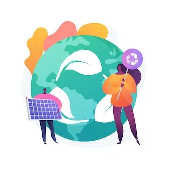 Ochrona zasobów streszczenie ilustracja koncepcja. ochrona zasobów naturalnych, ochrona gruntów, ochrona przyrody, inteligentne wykorzystanie wody, ochrona środowiska