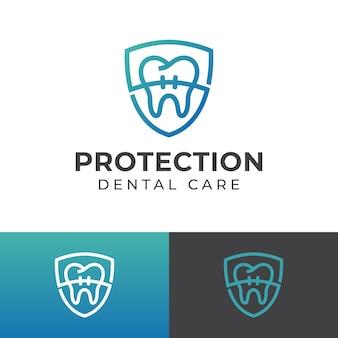 Ochrona zdrowych zębów za pomocą aparatu ortodontycznego i symbolu tarczy do projektowania logo opieki stomatologicznej lub dentystów