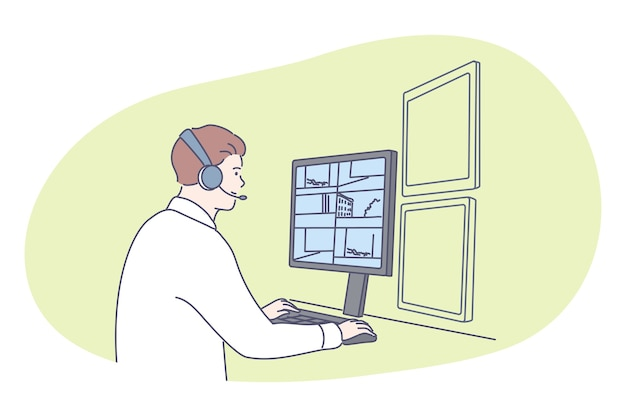 Ochroniarz, inwigilacja, ochrona, koncepcja policji. postać z kreskówki młody człowiek ochroniarz w słuchawkach siedzi i monitorowanie sytuacji na zewnątrz i wewnątrz zabezpieczonego budynku w biurze