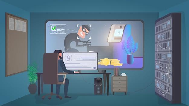 Ochroniarz obserwuje włamywacza w pomieszczeniu ochrony. identyfikacja złodzieja. złodziej kradnie kartę bankową w pobliżu bankomatu. koncepcja bezpieczeństwa. wektor.