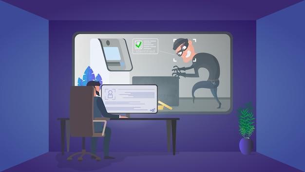 Ochroniarz obserwuje włamywacza w pomieszczeniu ochrony. identyfikacja złodzieja.