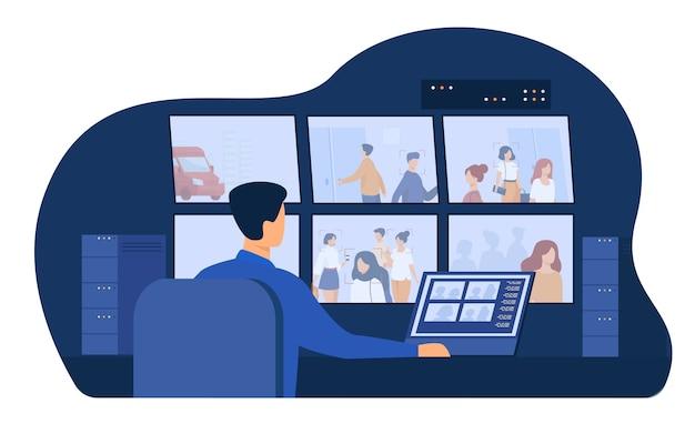 Ochroniarz siedzący przy panelu kontrolnym, oglądający filmy z kamer monitorujących na monitorach w pomieszczeniu kontrolnym cctv. ilustracja wektorowa dla pracownika systemu bezpieczeństwa, szpiegostwo, koncepcja nadzoru