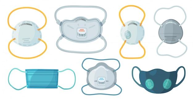 Ochronne maski oddechowe. zestaw przemysłowy maska n95, respirator przeciwpyłowy i zestaw medycznych masek oddechowych