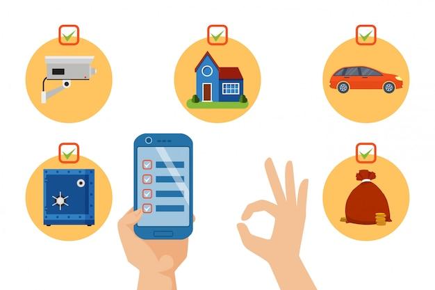 Ochrony ikony smartphone zastosowanie, ilustracja. bezpieczny zestaw z monetą zamka, aparatu, domu, samochodu i pieniędzy w torbie.