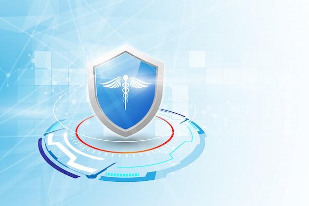 Ochrony opieki zdrowotnej apteki innowaci medycznej tło.