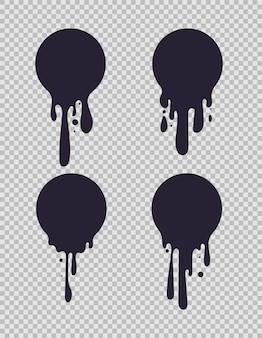 Ociekające czarne kółka. okrągłe płynne kształty z kroplami farby do mleka lub czekolady wektor zestaw logo