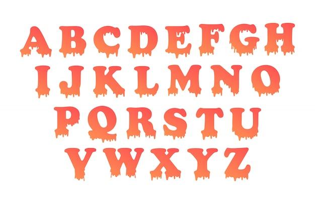 Ociekający alfabet z wypełnieniem gradientowym.
