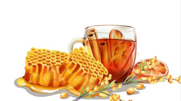 Ociekający plaster miodu filiżanką herbaty