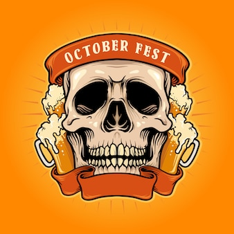 October fest skull with beer ribbon ilustracje