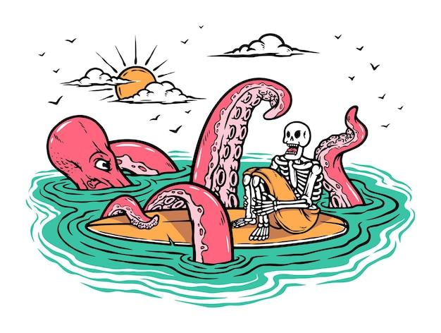 Octopus atakuje surferów na ilustracji morza