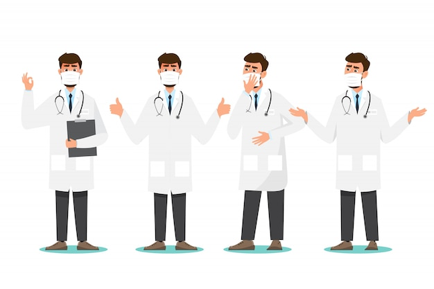 Octor wear mask in different character.medical concept