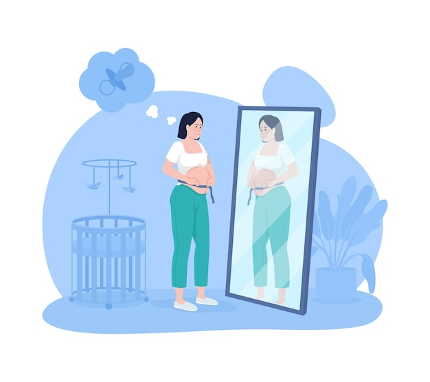 Oczekuje mama 2d wektor ilustracja na białym tle. kobieta w ciąży patrząc w lustro. pani pomiaru brzucha dziecka. młody przyszły rodzic płaski charakter na tle kreskówki. ciąża kolorowa scena