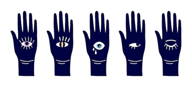 Oczy diabła. magiczna ręka z symbolami oczu. różne sylwetki wektor otwarte ramiona