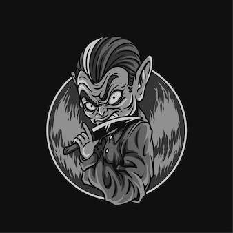 Oczy nóż do zabicia czarno-białej ilustracji halloween