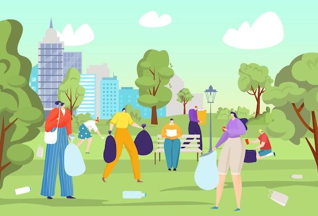 Oczyść park z ilustracji śmieci