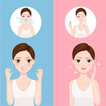 Oczyszczanie twarzy wodą i wodą oczyszczającą