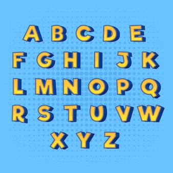Od a do z 3d komiksowy alfabet w kolorze żółtym z niebieskimi cieniami