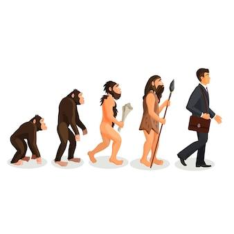 Od małpy do człowieka proces stojący na białym tle. hominy naczelne. homo habilis. człowiek wyprostowany. homo neanderthalensis. homo sapien. ilustracja ewolucji człowieka od starożytności do współczesności.