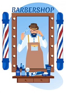 Odbicie lustrzane fryzjera cool young bearded man