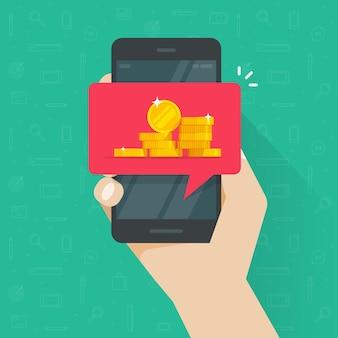Odbieranie internetowych pieniędzy cyfrowych na ilustracji telefonu komórkowego