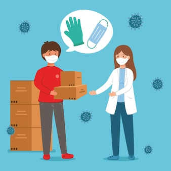 Odbieranie maski i rękawiczki koncepcja pomocy humanitarnej