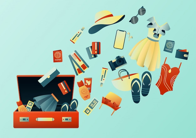 Odbieranie walizki na wycieczkę: ubrania, dokumenty, sprzęt. rzeczy podróżnicze. planowanie wakacji, turystyki. kolorowa modna ilustracja. płaska konstrukcja.