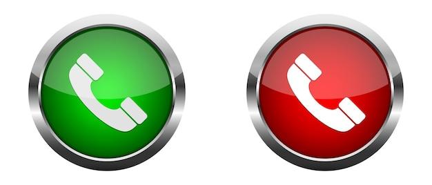 Odbierz i odrzuć połączenie. czerwone i zielone błyszczące przyciski.