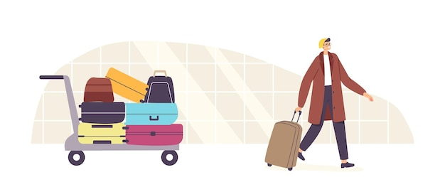 Odbiór bagażu, przylot samolotu, koncepcja podróży turystycznych. turystyczny męski charakter z walizką na lotnisku. człowiek z bagażem chodzić do rejestracji lub odlotu samolotu. ilustracja wektorowa kreskówka ludzie