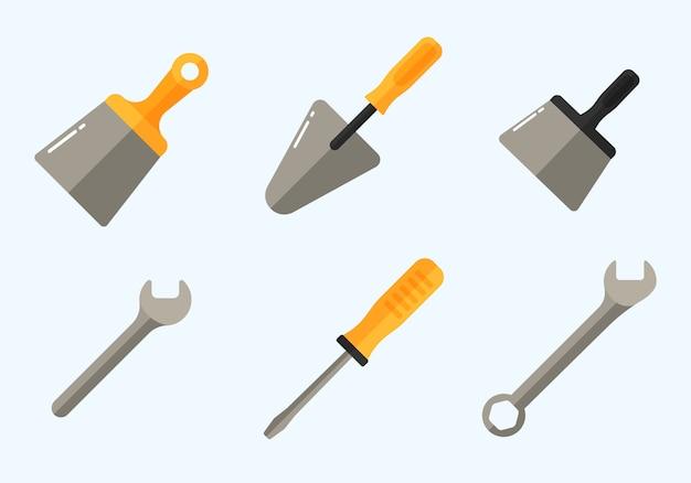 Odbiór sprzętu do naprawy: wiertarka, młotek, śrubokręt, piła, pilnik, szpachla, linijka, wałek, szczotka. zestaw ikon narzędzi do naprawy i budowy. zbiór narzędzi roboczych. ilustracja.