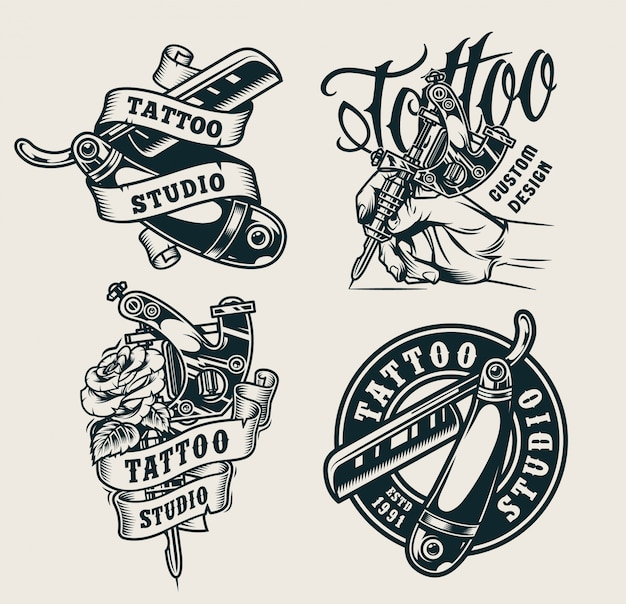 Odbitki studio tatuażu w stylu vintage