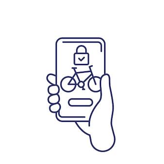 Odblokuj ikonę linii rowerowej, aplikację do udostępniania rowerów