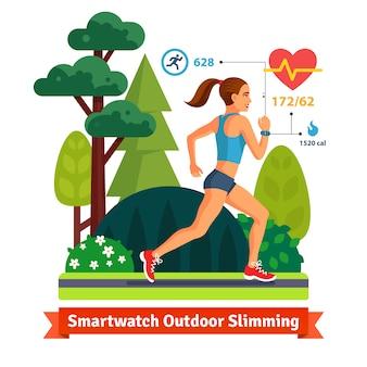 Odchudzanie kobieta biegnie w parku