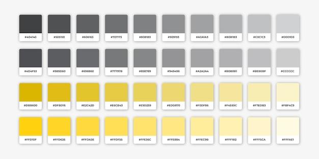 Odcienie szarości i żółtej palety kolorów z hexem