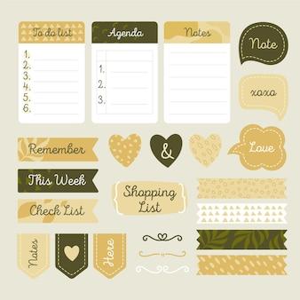 Odcienie zielonego zestawu notatnik planner