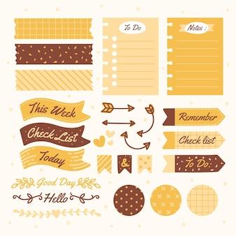 Odcienie żółtego zestawu notatnik planner