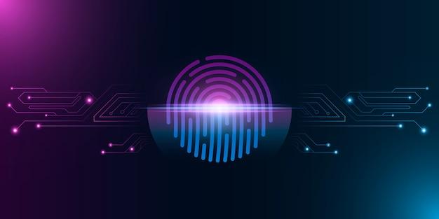 Odcisk palca do zabezpieczenia systemu komputerowego ze skanowaniem neonów. futurystyczna kłódka w kolorze fioletowo-niebieskim. skanowanie laserowe dla urządzenia z ekranem dotykowym. płytka drukowana komputera.