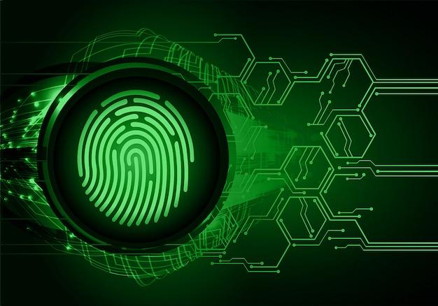 Odcisk palca sieci cyber bezpieczeństwa tło. zamknięta kłódka w wersji cyfrowej.