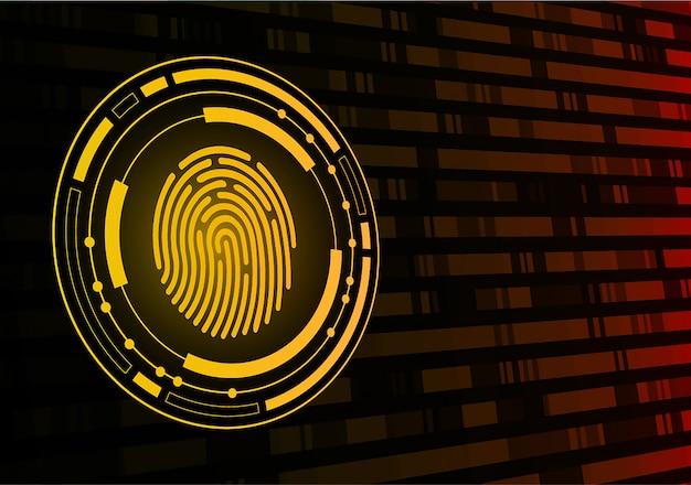 Odcisk palca sieci cyber bezpieczeństwa tło.