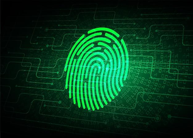 Odcisk palca sieci cyber bezpieczeństwa tło