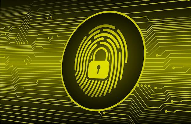 Odcisk palca sieci cyberbezpieczeństwa tło, zamknięta kłódka