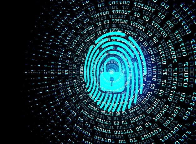 Odcisk palca w tle cyberbezpieczeństwa sieci