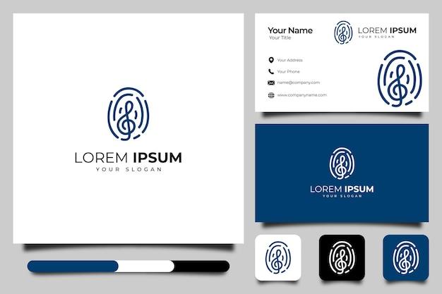 Odcisk palca z kreatywnym logo muzyki i szablonem wizytówek