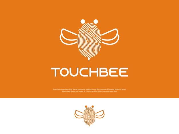 Odcisk palca z nowoczesną, naturalną, kreatywną koncepcją projektowania logo pszczół