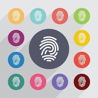 Odcisk palca, zestaw ikon płaski. okrągłe kolorowe guziki. wektor