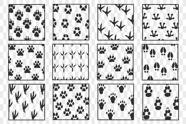 Odciski zwierząt. wzór łapy. czarne sylwetki łap. zwierzak śladu. ślady zwierząt.