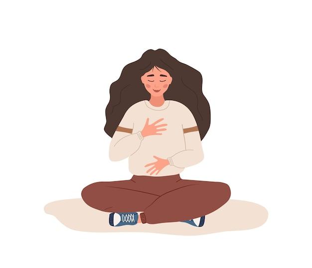 Oddychanie brzuszne. kobieta ćwicząca oddychanie brzuchem dla dobrego relaksu.
