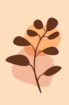 Oddział boho roślina wzór tła czeski minimalistyczny streszczenie ilustracji wektorowych roślin