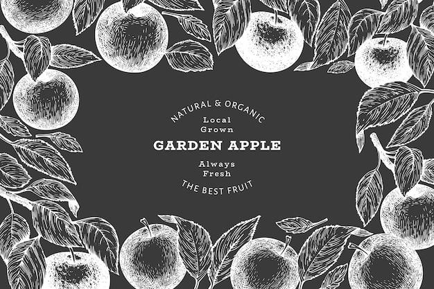 Oddział jabłoni. ręcznie rysowane owoce ogrodowe na tablicy kredowej. grawerowane owoce w stylu retro botaniczne tło.